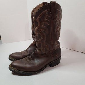 """Double H 12"""" Domestic AG7 Work Western Boot Brown 3282 Size 9.5"""